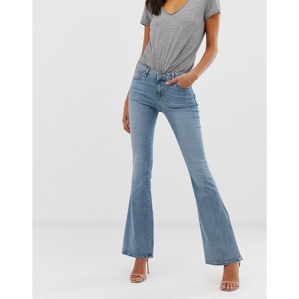 エイソス レディース デニムパンツ ボトムス ASOS DESIGN Mid rise flare jeans in light wash blue Mid blue