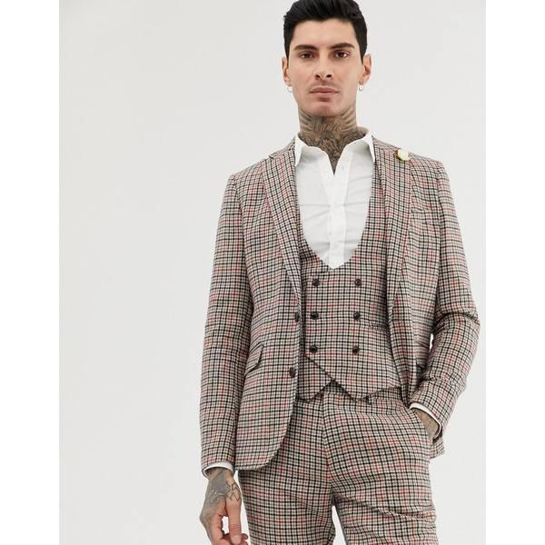 ジアーフラウド メンズ ジャケット&ブルゾン アウター Gianni Feraud skinny fit small check suit jacket Brown