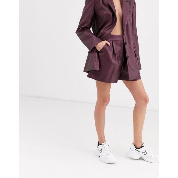 エイソス レディース カジュアルパンツ ボトムス ASOS DESIGN leather look suit shorts in purple Purple