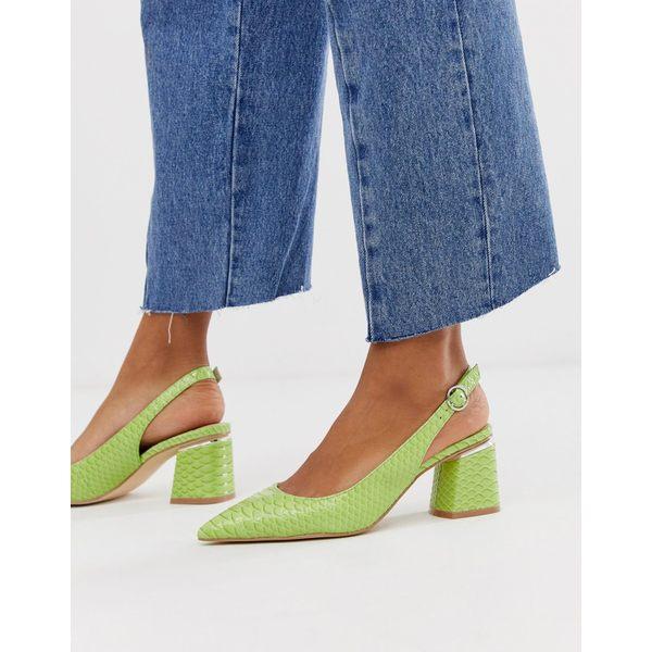 エイソス レディース ヒール シューズ ASOS DESIGN Saucer slingback pointed heels in snake Lime green snake