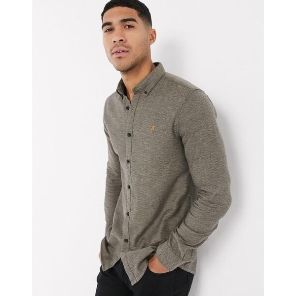 ファーラー メンズ シャツ トップス Farah Kreo slim long sleeve shirt Brown