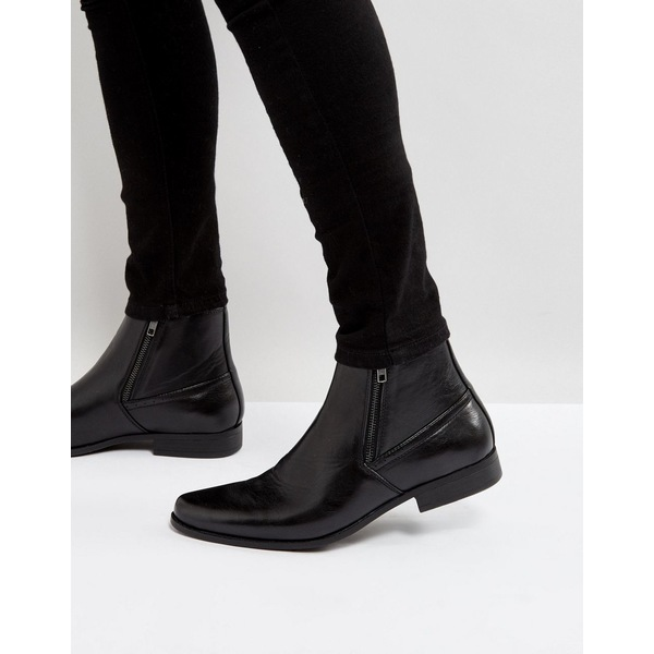 エイソス メンズ ブーツ&レインブーツ シューズ ASOS DESIGN chelsea boots in black faux leather with zips Black