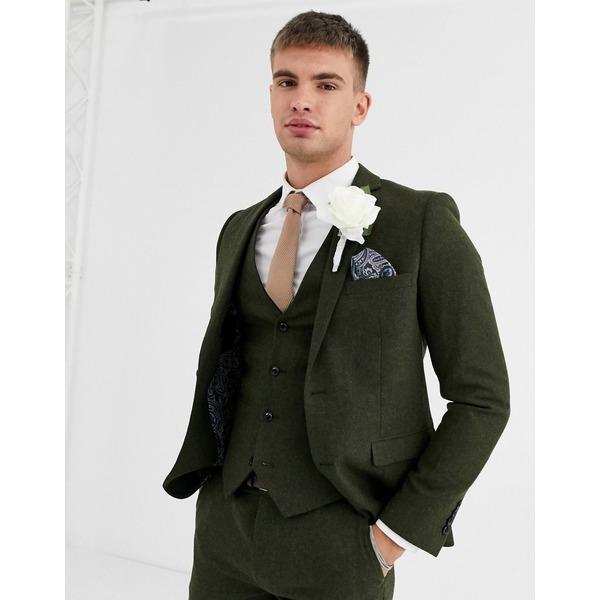 ハリー・ブラウン メンズ ジャケット&ブルゾン アウター Harry Brown wedding tweed heritage slim fit suit jacket Green