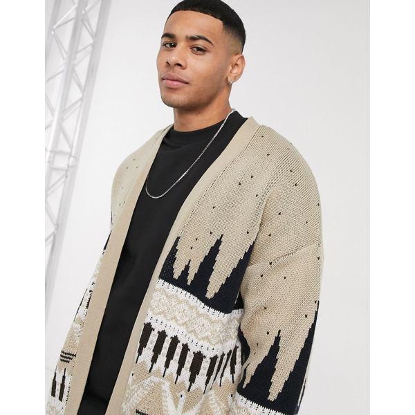 エイソス メンズ カーディガン アウター ASOS DESIGN knitted cardigan with pattern Stone