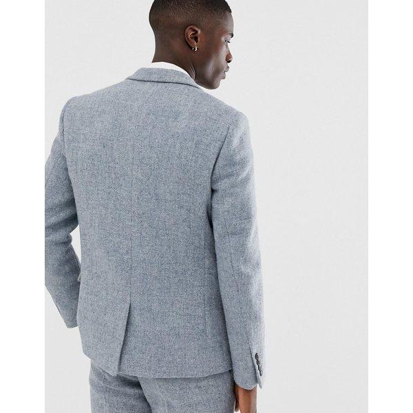 エイソス メンズ ジャケット&ブルゾン アウター ASOS DESIGN slim suit jacket in 100% wool Harris Tweed in gray Gray