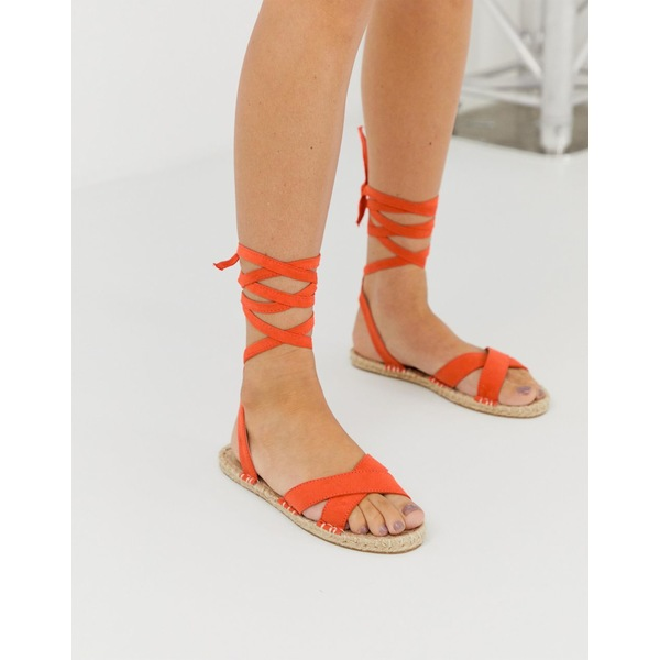 エイソス レディース スリッポン・ローファー シューズ ASOS DESIGN Jala espadrille flat sandals in orange Orange