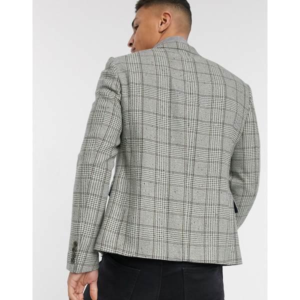 エイソス メンズ ジャケット&ブルゾン アウター ASOS DESIGN skinny double breasted blazer in gray check Gray