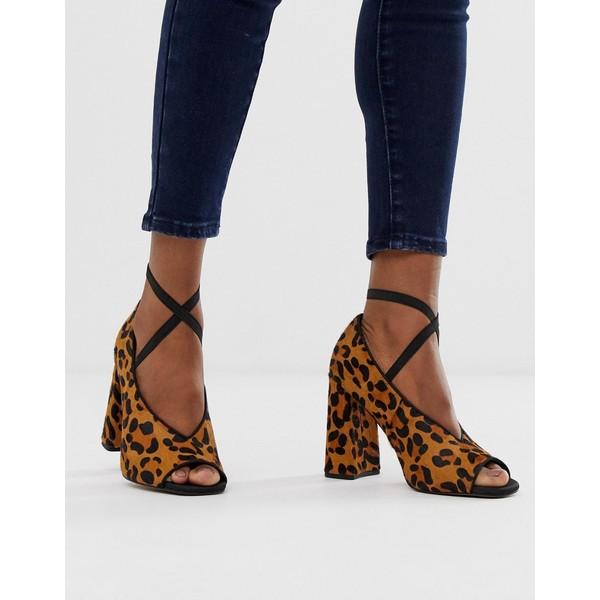 エイソス レディース ヒール シューズ ASOS DESIGN Peyton premium leather high heels in leopard pony Leopard pony