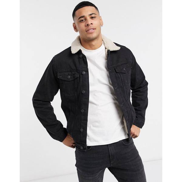 ニュールック メンズ ジャケット&ブルゾン アウター New Look fleece lined denim jacket in washed black Washed black