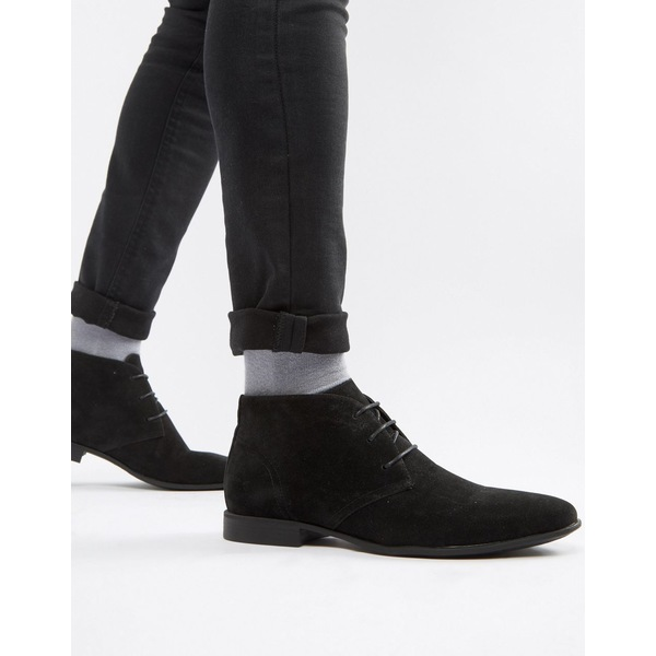 エイソス メンズ ブーツ&レインブーツ シューズ ASOS DESIGN chukka boots in black faux suede Black