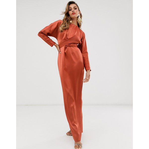 エイソス レディース ワンピース トップス ASOS DESIGN maxi dress with batwing sleeve and wrap waist in satin Soft rust