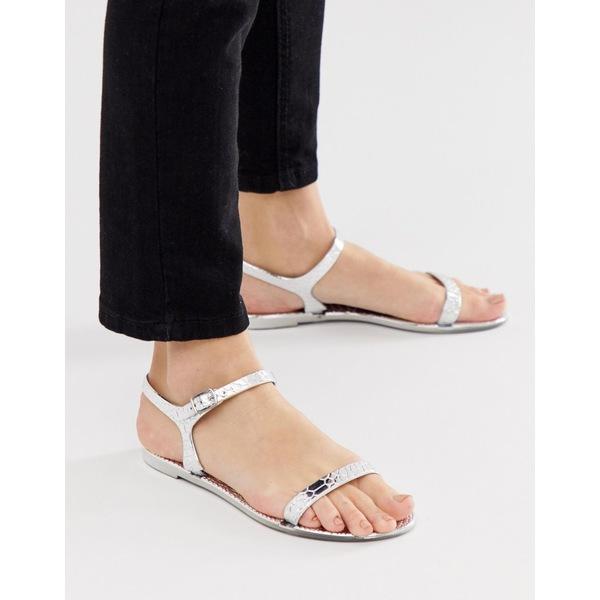 エイソス レディース サンダル シューズ ASOS DESIGN Flame flat sandals Silver