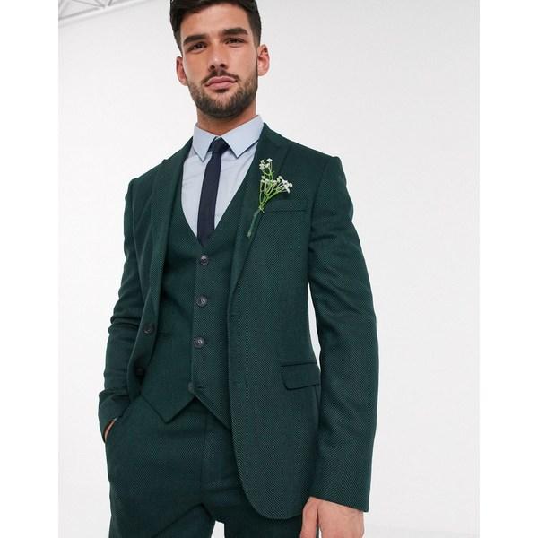 エイソス メンズ ジャケット&ブルゾン アウター ASOS DESIGN wedding skinny suit jacket in wool mix herringbone in forest green Green