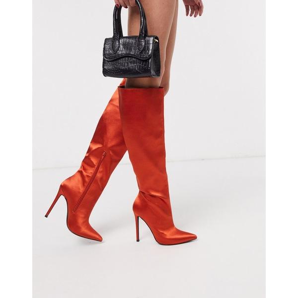 エイソス レディース ブーツ&レインブーツ シューズ ASOS DESIGN Carly pull on knee boots in rust satin Rust satin