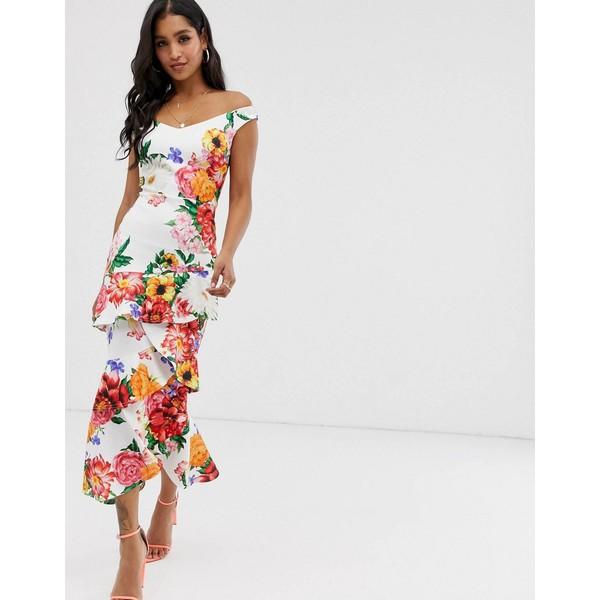 トゥルーバイオレット レディース ワンピース トップス True Violet bardot midaxi bodycon dress with frill Spring floral