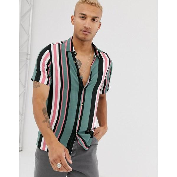 エイソス メンズ シャツ トップス ASOS DESIGN revere collar regular fit stripe shirt Green