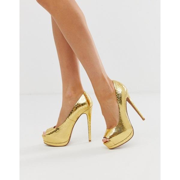 エイソス レディース ヒール シューズ ASOS DESIGN Playful platform high heels in gold snake Gold snake