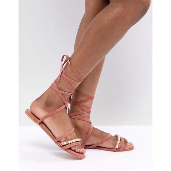 エイソス レディース サンダル シューズ ASOS DESIGN Fascination Leather Embellished Flat Sandals Rust