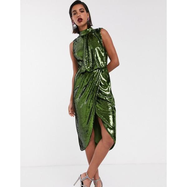 エイソス レディース トップス ワンピース Green 全商品無料サイズ交換 エイソス レディース ワンピース トップス ASOS DESIGN sequin midi pencil midi dress with drape front Green