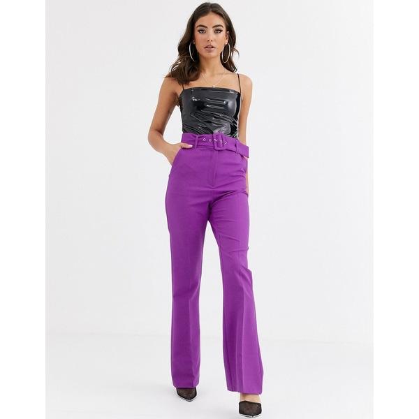 エイソス レディース カジュアルパンツ ボトムス ASOS DESIGN pop purple slim kick flare pants with covered belt Purple