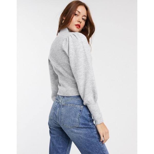 エイソス レディース ニット&セーター アウター ASOS DESIGN cut out front sweater with volume sleeve Gray marl