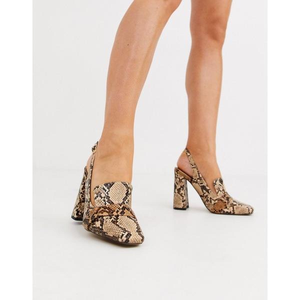 エイソス レディース ヒール シューズ ASOS DESIGN Peggy square toe heeled loafers in snake Snake mix