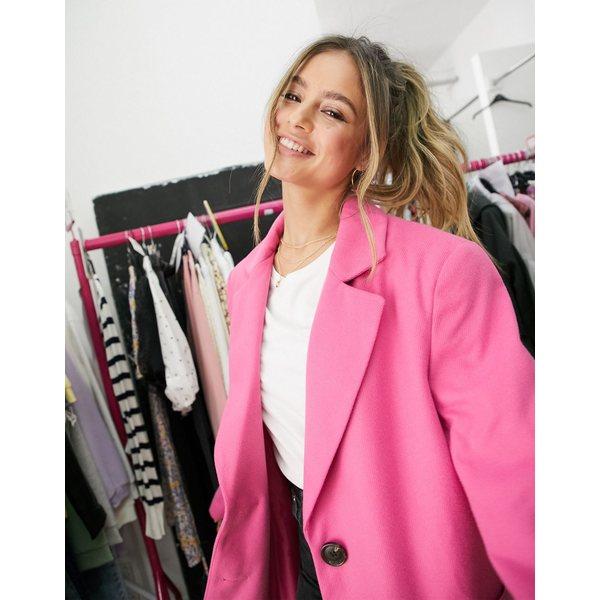 エイソス レディース コート アウター ASOS DESIGN bright bonded crepe grandad coat in pink Hot pink