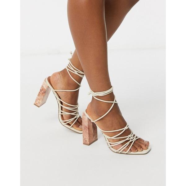 エイソス レディース ヒール シューズ ASOS DESIGN Nourish strappy sandals with marble heel in bone Bone
