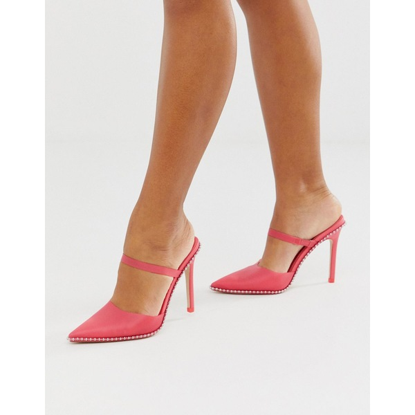 エイソス レディース ヒール シューズ ASOS DESIGN Power Up studded high heeled mules in pink Pink jelly
