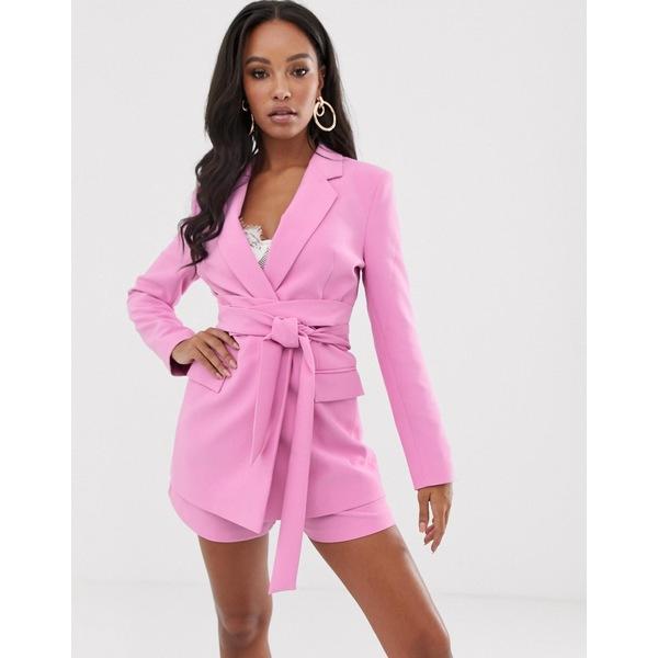 エイソス レディース ジャケット&ブルゾン アウター ASOS DESIGN wrap belted suit blazer in pink Pink