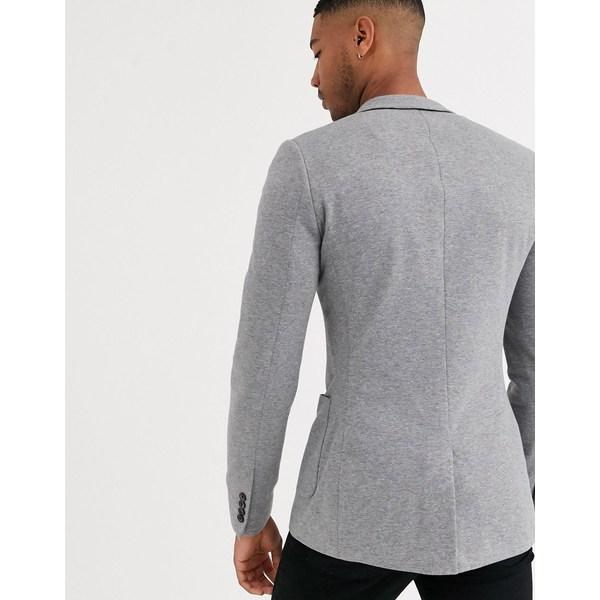 エイソス メンズ ジャケット&ブルゾン アウター ASOS DESIGN Tall super skinny jersey blazer in gray Gray