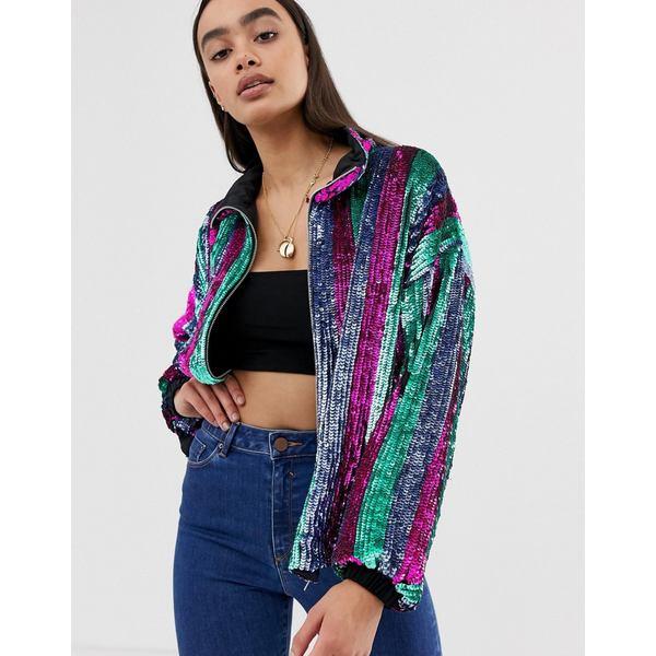 エイソス レディース コート アウター ASOS DESIGN sequin stripe bomber jacket Multi