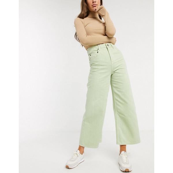 エイソス レディース デニムパンツ ボトムス ASOS DESIGN Premium wide leg jeans in lime acid Lime