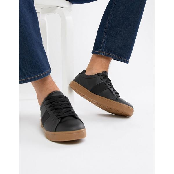 エイソス メンズ スニーカー シューズ ASOS DESIGN sneakers in black with gum sole Black