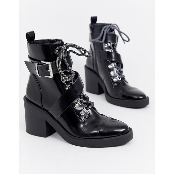 エイソス レディース ブーツ&レインブーツ シューズ ASOS DESIGN Ellijah chunky hiker boots Black