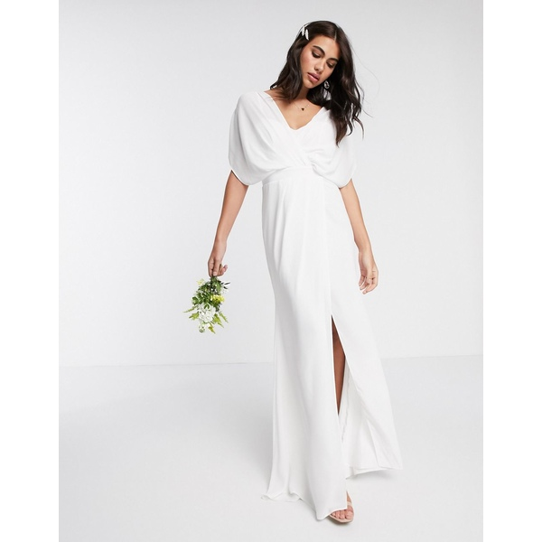 エイソス レディース ワンピース トップス ASOS DESIGN Bridesmaid short sleeved cowl front maxi dress with button back detail White