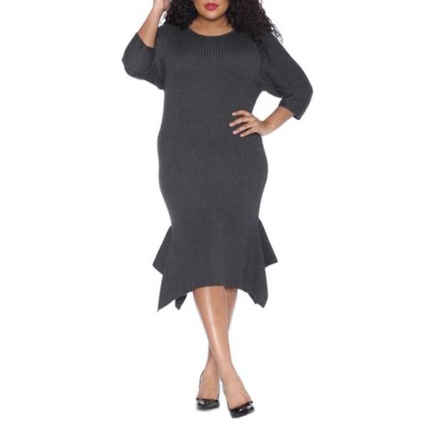 スリンクジーンズ レディース ワンピース トップス Handkerchief Hem Sweater Dress (Plus Size) DARK STONE