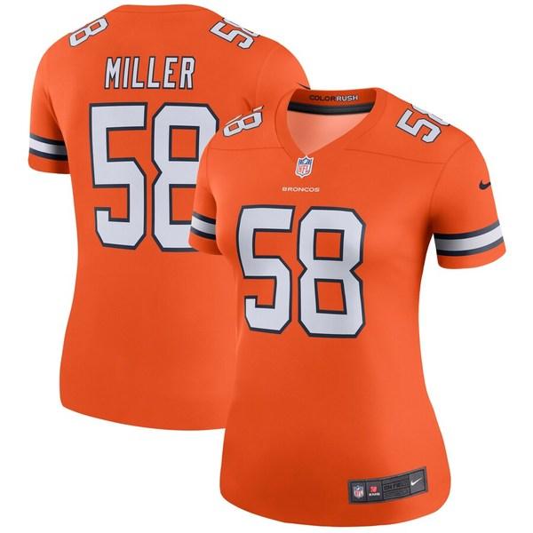 ナイキ レディース シャツ トップス Von Miller Denver Broncos Nike Women's Color Rush Legend Jersey Orange