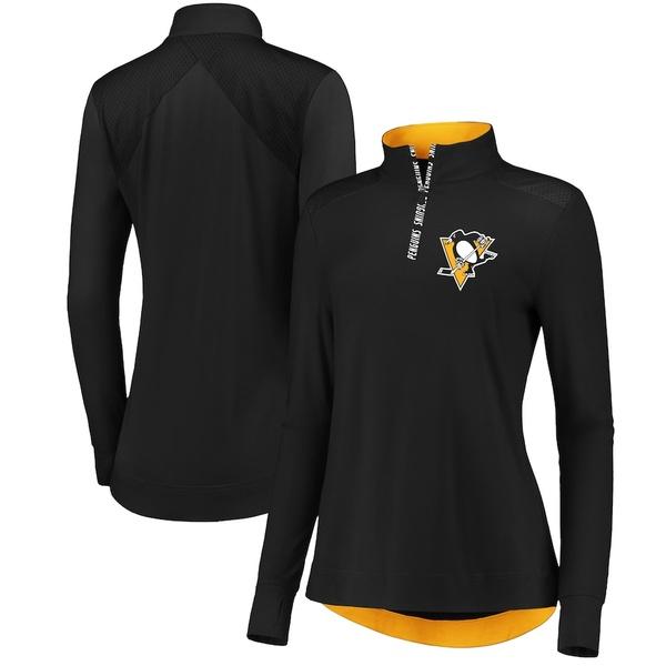 ファナティクス レディース ジャケット&ブルゾン アウター Pittsburgh Penguins Fanatics Branded Women's Iconic Clutch Half-Zip Mock Neck Pullover Jacket Black/Gold