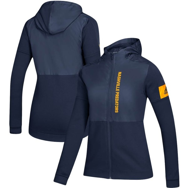 アディダス レディース ジャケット&ブルゾン アウター Nashville Predators adidas Women's Game Mode Full-Zip Jacket Navy