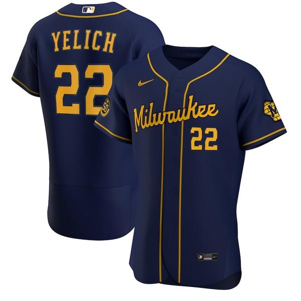 ナイキ メンズ シャツ トップス Christian Yelich Milwaukee Brewers Nike Alternate 2020 Authentic Player Jersey Navy