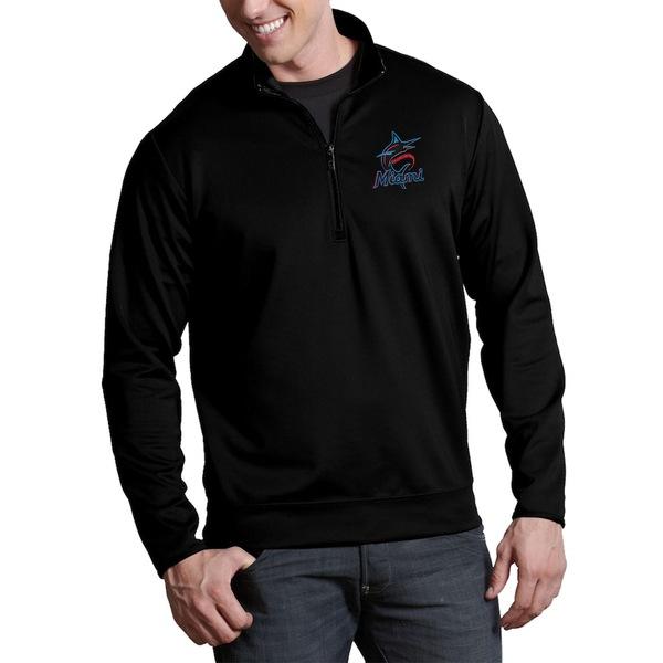 アンティグア メンズ ジャケット&ブルゾン アウター Miami Marlins Antigua Leader Quarter-Zip Pullover Jacket Black