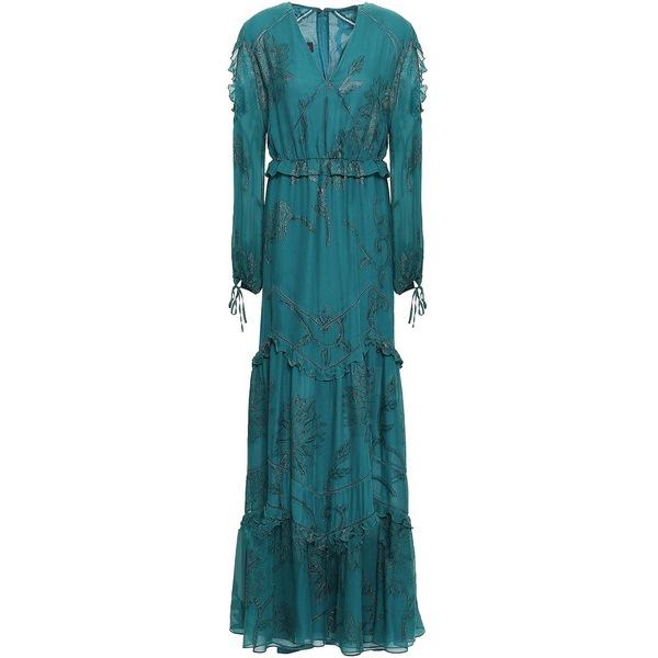 タルボールホフ レディース ワンピース トップス Cold-shoulder metallic fil coup silk-blend gown Teal