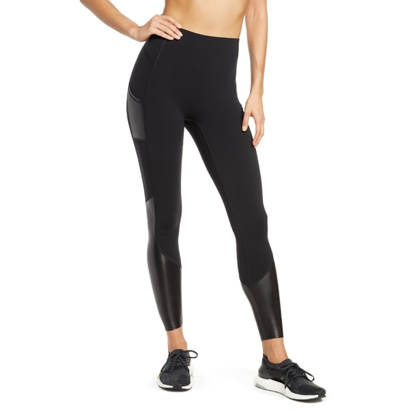スパンク レディース レギンス ボトムス SPANX Every.Wear Gloss Panel Pocket Active Leggings Very Black