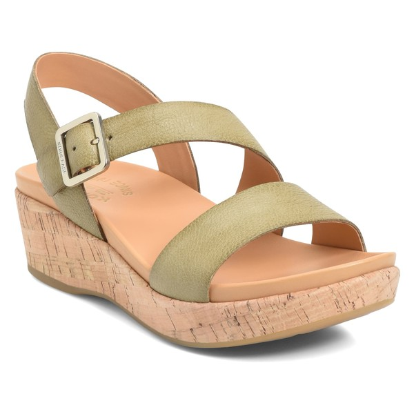 コークイース レディース サンダル シューズ Kork-Ease Minihan Wedge Sandal (Women) Light Green Leather