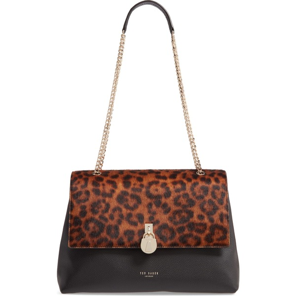 テッドベーカー レディース ハンドバッグ バッグ Ted Baker London Cliarra Leopard Print Genuine Calf Hair & Leather Shoulder Bag Black