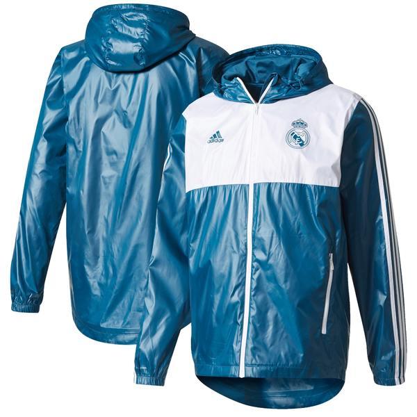 アディダス メンズ ジャケット&ブルゾン アウター Real Madrid adidas Three Stripe Windbreaker Jacket Blue