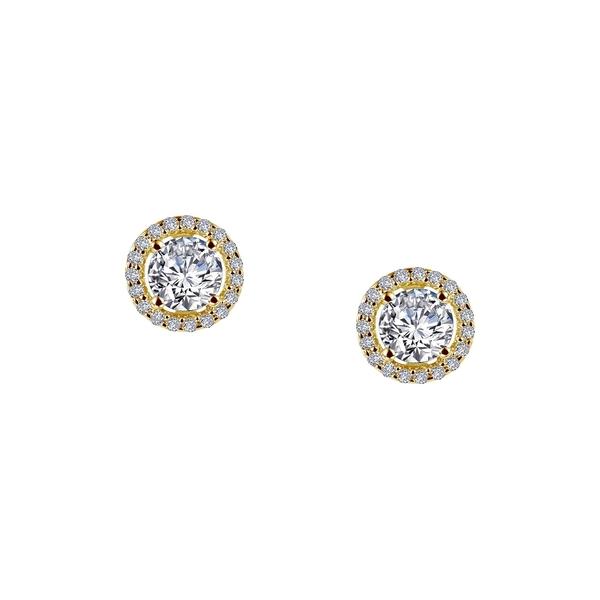 迅速な対応で商品をお届け致します ラフォン レディース アクセサリー ピアス イヤリング WHITE 半額 全商品無料サイズ交換 Yellow Stud Plated Earrings Halo Round-Cut Gold Diamond Simulated