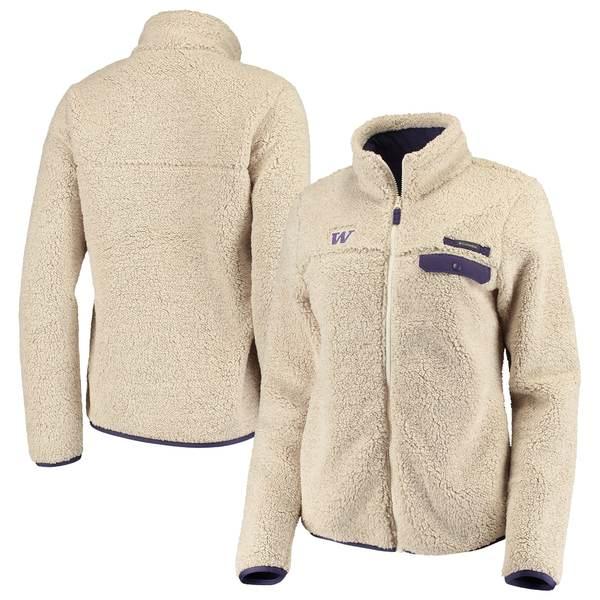 コロンビア レディース ジャケット&ブルゾン アウター Washington Huskies Columbia Women's Mountain Side Sherpa Fleece FullZip Jacket Cream