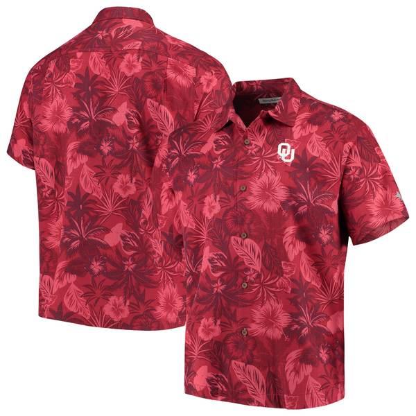 トッミーバハマ メンズ シャツ トップス Oklahoma Sooners Tommy Bahama Fuego Floral Silk Camp Shirt Crimson